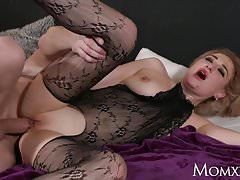 MOM Wet big tits MILF in bodystocking squirting and rimming