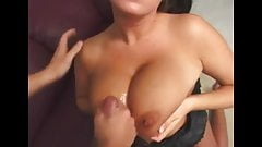 Lucky guy cums all over Brandy's massive melons