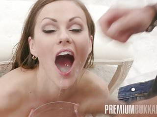 Premium Bukkake - Tina Kay swallows 68 big loads and got DP