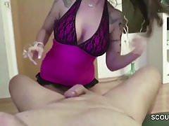 German Step-Sister Help Him With Sensual Handjob to Cum