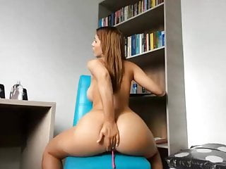 Brunette babe big round ass butt big tits riding dildo squir