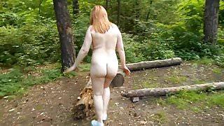amateur chubby redhead nude in public park