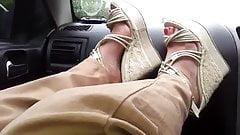 sexy wedge heels feet