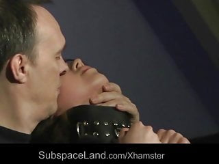 Petite slave blindfolded submissive cum swallow in bdsm fuck
