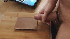 Massive cum on chocolate bar