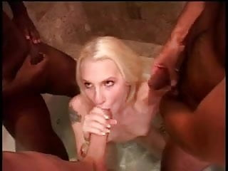 Blond babe sucks cock in interracial group cock sucking before taking cumshot