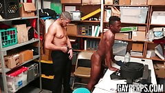 Security officer fucks a tanned black dudes tight hole hard