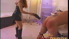 Sexy redhead dominatrix puts Felix through some painful