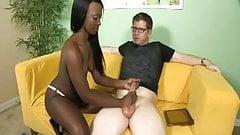 Topless Ebony Handjob