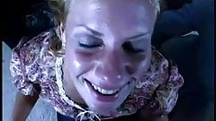 Blond takes facial