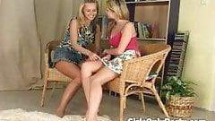 Blonde girls get wild on the floor