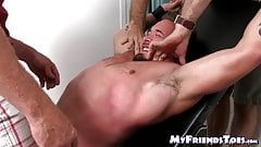 Bound hunky homo endures tickling torment on feet and body