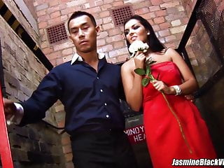 Jasmine Black in sexy red dress gets nailed in an elevator