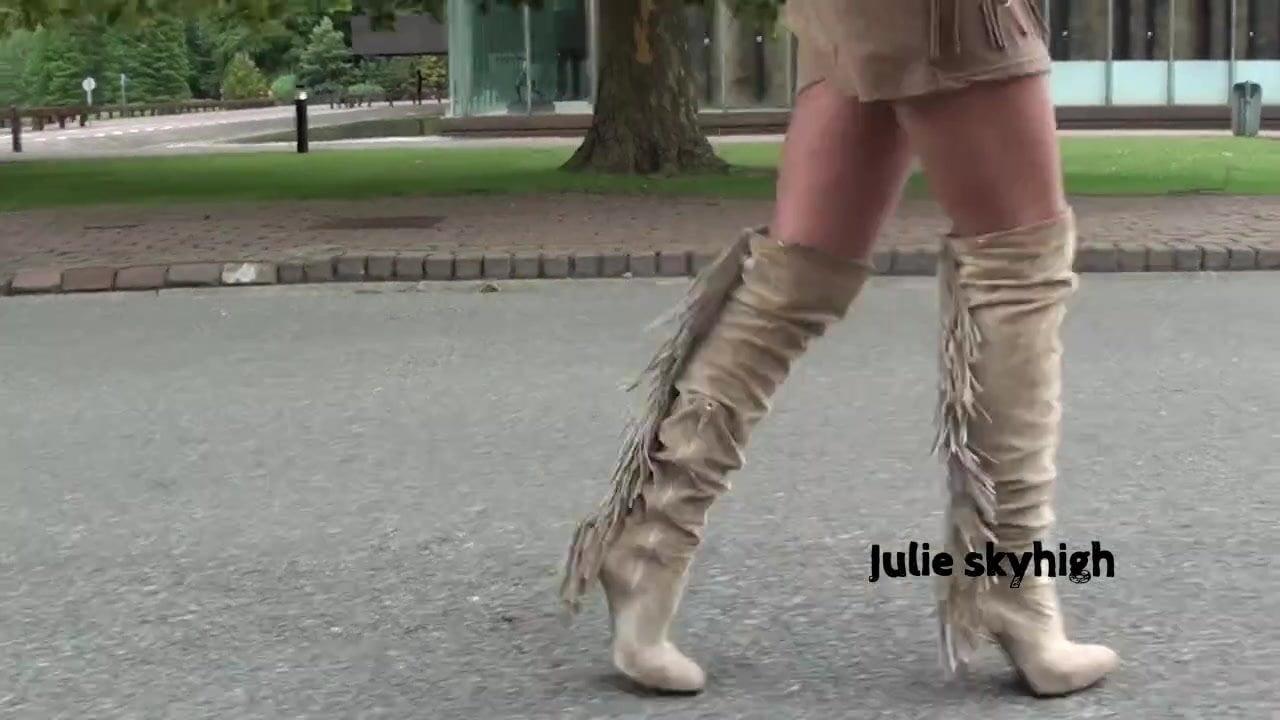 cute frenchteen in suede overknee boots teasing minidress