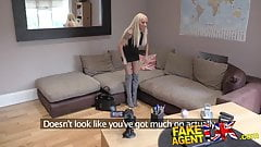 FakeAgentUK Petite blonde UK escort takes big fat cock