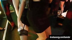 Bi club chicks having public sex orgy