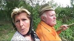 Grandpa fucks busty granny and teen outdoor