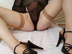 Stockings Heels Bodysuit Dildo Oil