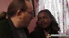 Ebony beauty Layla Gates sprayed by jizz in classic casting