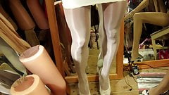 Bi Star 40 den Glossy tights in Offwhite and tight skirt