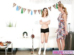 Raunchy teen and her sexy stepmom have awesome 69 session