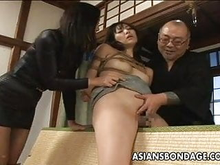 Preview 1 of Tied up Asian babe gets spanked and dildo fucked