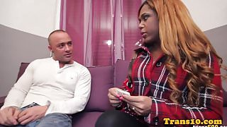 Busty black trans babe cockrides in stockings