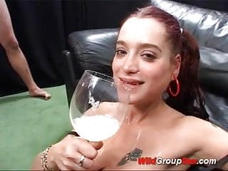 Preview 6 of cum drinking flexi german in gangbang