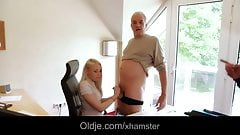 Old boss fucks hard his hot blonde secretary