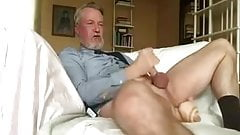 Suited daddy dildo jerk off