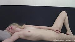 Petite golden-haired lass exhibiting her sexy body 's Thumb