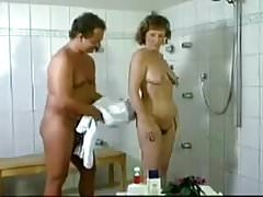 Vintage hairy German mature fucked in shower