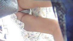 Upskirt Voyeur Bending Over with Tiny Lace Thong