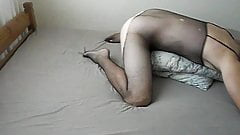 Wanking Jerking off Huge cock in Body Stocking