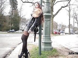 hooker public flashing smoking & leather miniskirt pantyhose