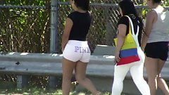 candid - hot teen big juicy booty in tight white shorts