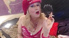 Dolled up,blond  & deliciously faggy sissy smoking a VS120