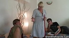 Cleaning woman involved in 3some orgy