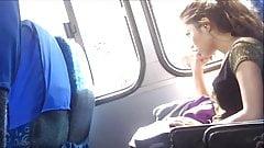 HERMOSA MORENITA SEE MYS BALLS IN THE BUS