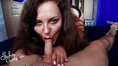 Sofia Curly  POV Blowjob and Jerk Off Huge Cock - Cum