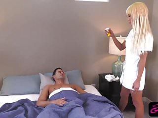 Sexy tranny nurse riding patients big dick after fellatio