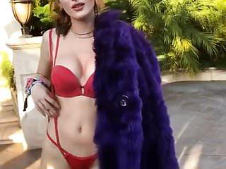 Bella Thorne in red lingerie