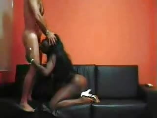 White Men and Hot Ebony Milf fucking in the Sofa