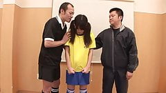 Young soccer whore gets fucked by her coach and a referee