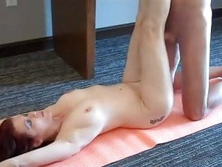 Naked yoga with MOM leads to a creampie