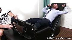 Double feet tickling with classy jock