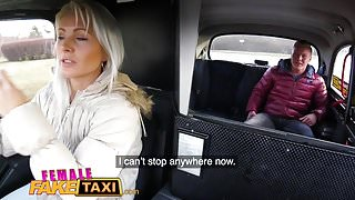 Female Fake Taxi Nympho blonde swaps studs cock for cash