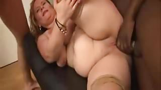 Mature Blond French BBW Gangbang