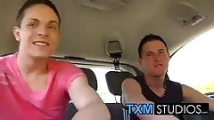 Twinks Dave and Justin sharing a large dick in the back seat