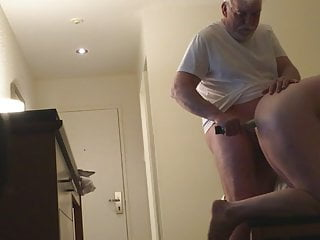 Young ass deflowered by old man on hidden cam in motel room